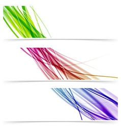Colorful swoosh speed wave line banner collection vector image