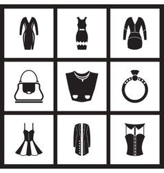 Concept flat icons in black and white women vector image