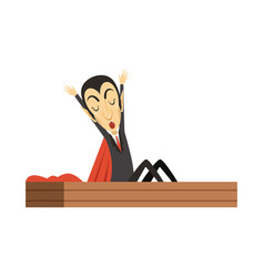 Count dracula vampire waking up in the coffin vector