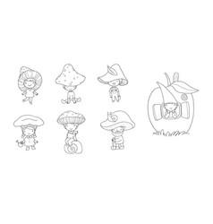 Cute cartoon gnomes mushrooms forest elves vector