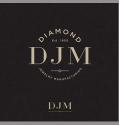 Diamond jewelry manufacturing logo d j m vector