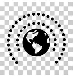 Earth sphere shield icon vector