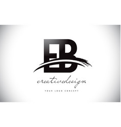 Eb e b letter logo design with swoosh and black vector