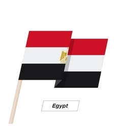 Egypt ribbon waving flag isolated on white vector