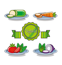 fresh and delicious set of vegetables vector image
