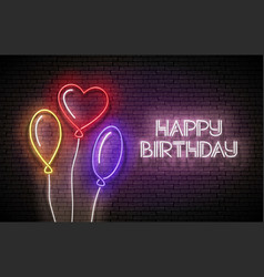 glow greeting card with different form balloons vector image