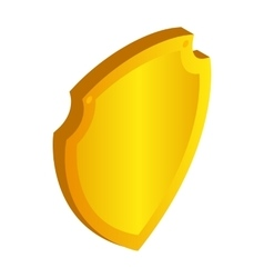 Gold shield icon in isometric 3d style vector