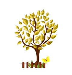 golden tree with glossy leaves vector image