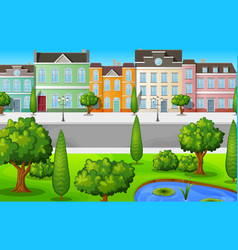 green cityscape with buildings and trees vector image