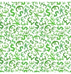 green signs world currencies on white seamless vector image
