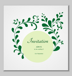 greeting card with stylized leaves can be used as vector image
