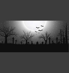 halloween background with graveyard vector image