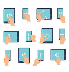 hand gestures touching screen devices fingers vector image