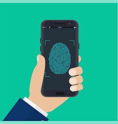 Hand with mobile phone unlocked vector