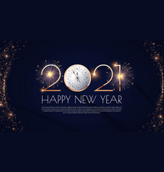 happy new 2021 year elegant gold text vector image