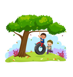 Happy two boys playing tire swing under tree vector