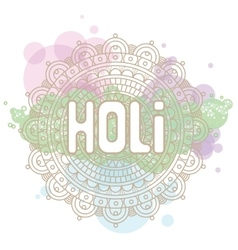 Holi word on background mandala and cloud circles vector image