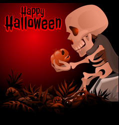 human skeleton in a grey cloak sitting on a rock vector image