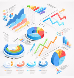 Infographics isometric elements icon vector