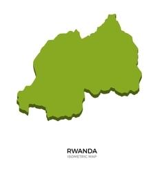 Isometric map of Rwanda detailed vector