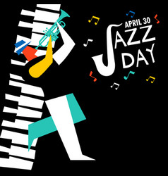 jazz day card of trumpet player in concert vector image