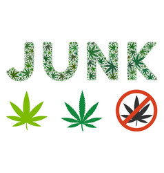 Junk label composition of weed leaves vector