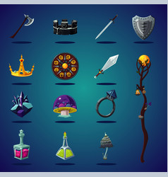 Legendary asset set of magic items and resource vector