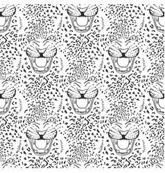 Leopard roar face or head hand drawn head vector