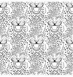 Leopard roar face or head hand drawn leopard head vector