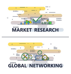 line art market research poster template vector image