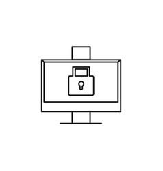 Locked computer icon vector