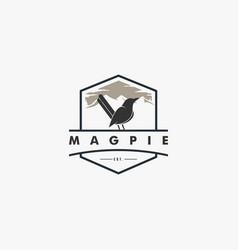 logo magpie bird vintage badge style vector image