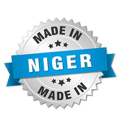 Made in Niger silver badge with blue ribbon vector