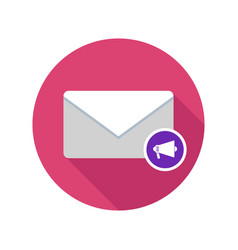 Mail reading aloud email icon with long shadow vector
