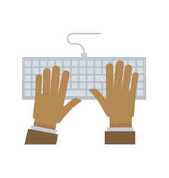 male hands on white keyboard with wire vector image