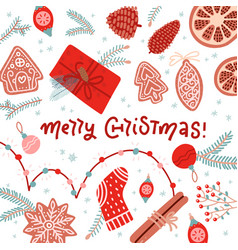 merry christmas and happy new year winter greeting vector image