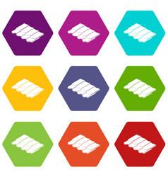 metal tile icons set 9 vector image