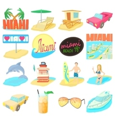 Miami travel icons set cartoon style vector image