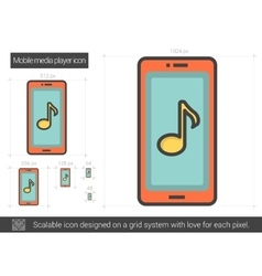 Mobile media player line icon vector