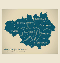 Modern map - greater manchester metropolitan vector