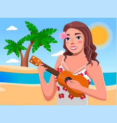 Nice girl with long hair standing on ocean vector