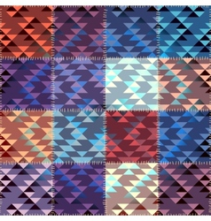 Patchwork with triagles ornament vector image