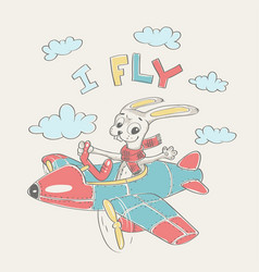 pilot bunny cartoon vector image