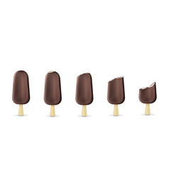 popsicle ice cream on stick from whole to bitten vector image