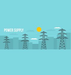 Power supply banner flat style vector
