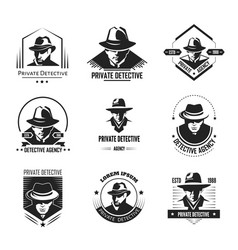 Private detective promotional monochrome emblems vector
