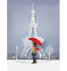 Rainy season with the girl open red an umbrella vector