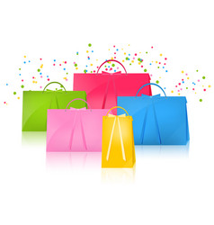 Realistic colorful paper shopping bag set vector