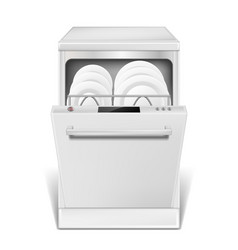 realistic dishwasher machine with open door white vector image