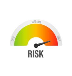 Risk icon on speedometer high risk meter vector